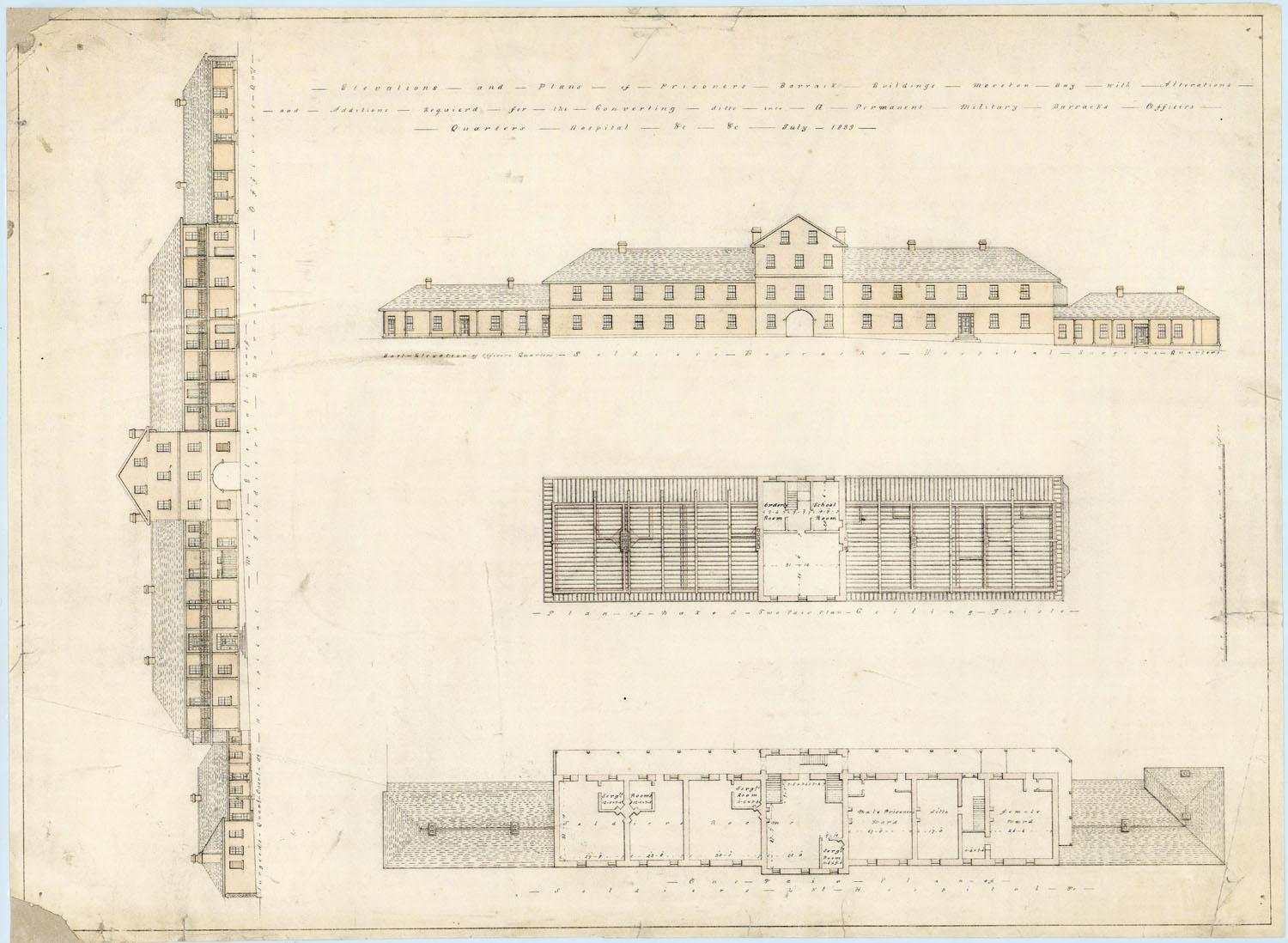 Elevations and plans for conversion of Prisoners' Barrack
