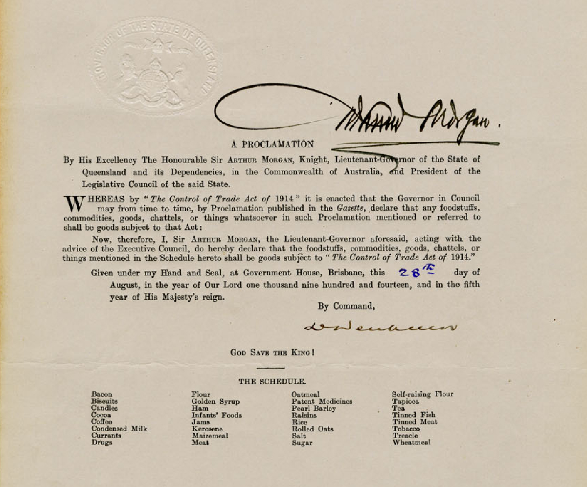 "Proclamation declaring certain goods to be subject to ""The Control of Trade Act 1914"", 28 August 1914"