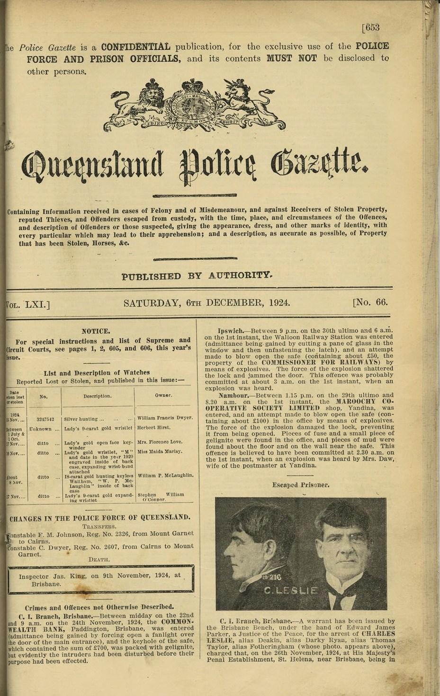 Queensland State Archives Digital Image ID 23435: Queensland Police Gazette - Vol LXI, No 66, pp 653-654, 6 December 1924