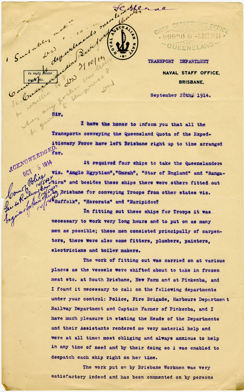 Letter to Mr Denham, Premier of Queensland from Commander C. Burford of the Royal Australian Navy, regarding the successful completion of fitting out of ships for transporting Australian troops for the Expeditionary Force, 28 September 1914