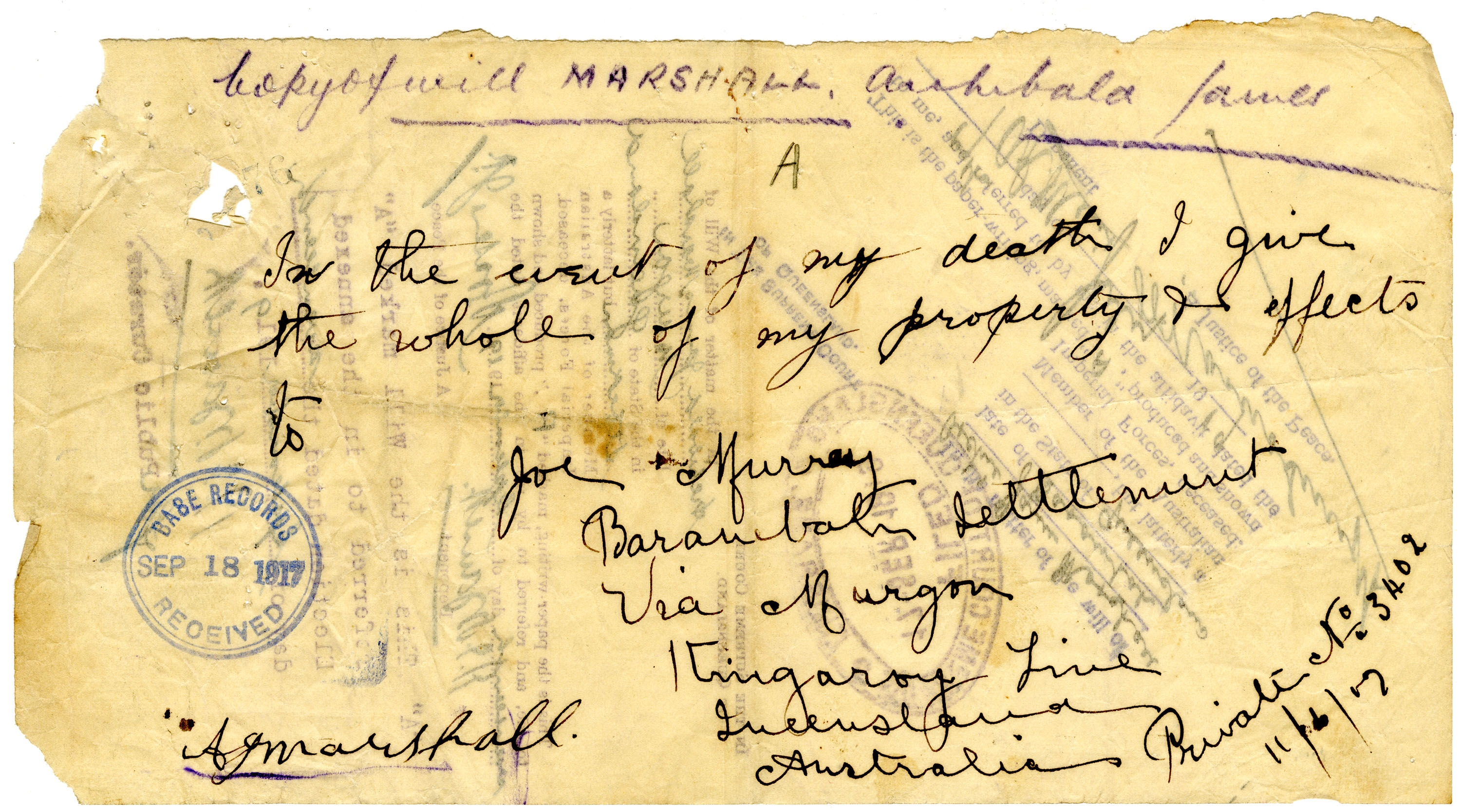 Contained in the Supreme Court file - Queensland State Archives, Digital Image ID 27000