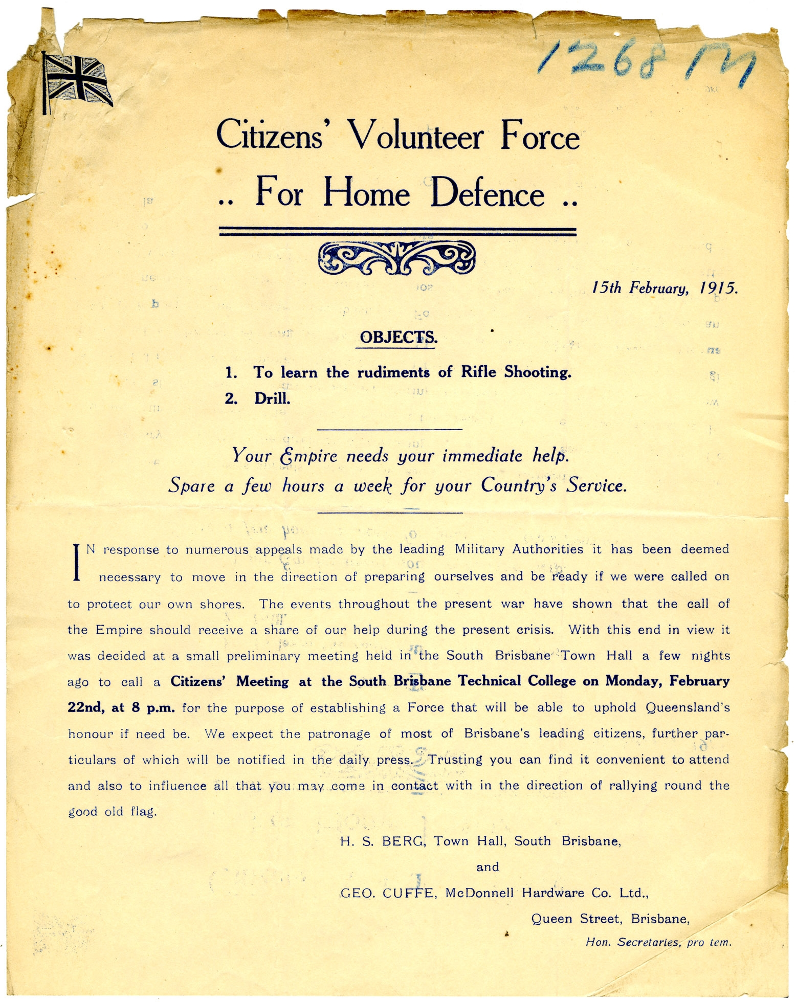 Flyer outlining the objectives of the Citizens' Volunteer force for Home Defence, 15 February 1915