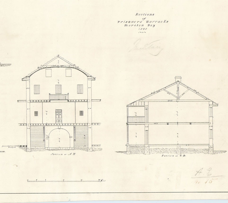 Drawing showing sections of Prisoners' Barracks, Moreton Bay, 1838
