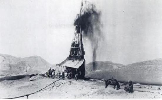 Burmah Oil Company's big discovery at Masjid-i-Suleiman on 26 May 1908 – the first-ever well to hit oil in the Middle East [image sourced from Pinterest]