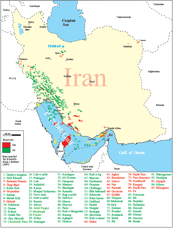 A modern map of Iran's known oil and gas reservoirs [image sourced from Wikimedia Commons]