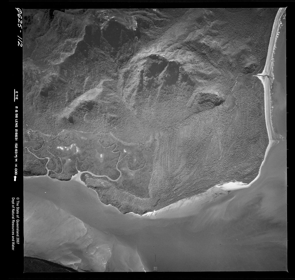 This view of Mount Straloch was taken 1 June 1956, 13 years after the Lady Ann was discovered by Morgan (QImagery QAP0625112).