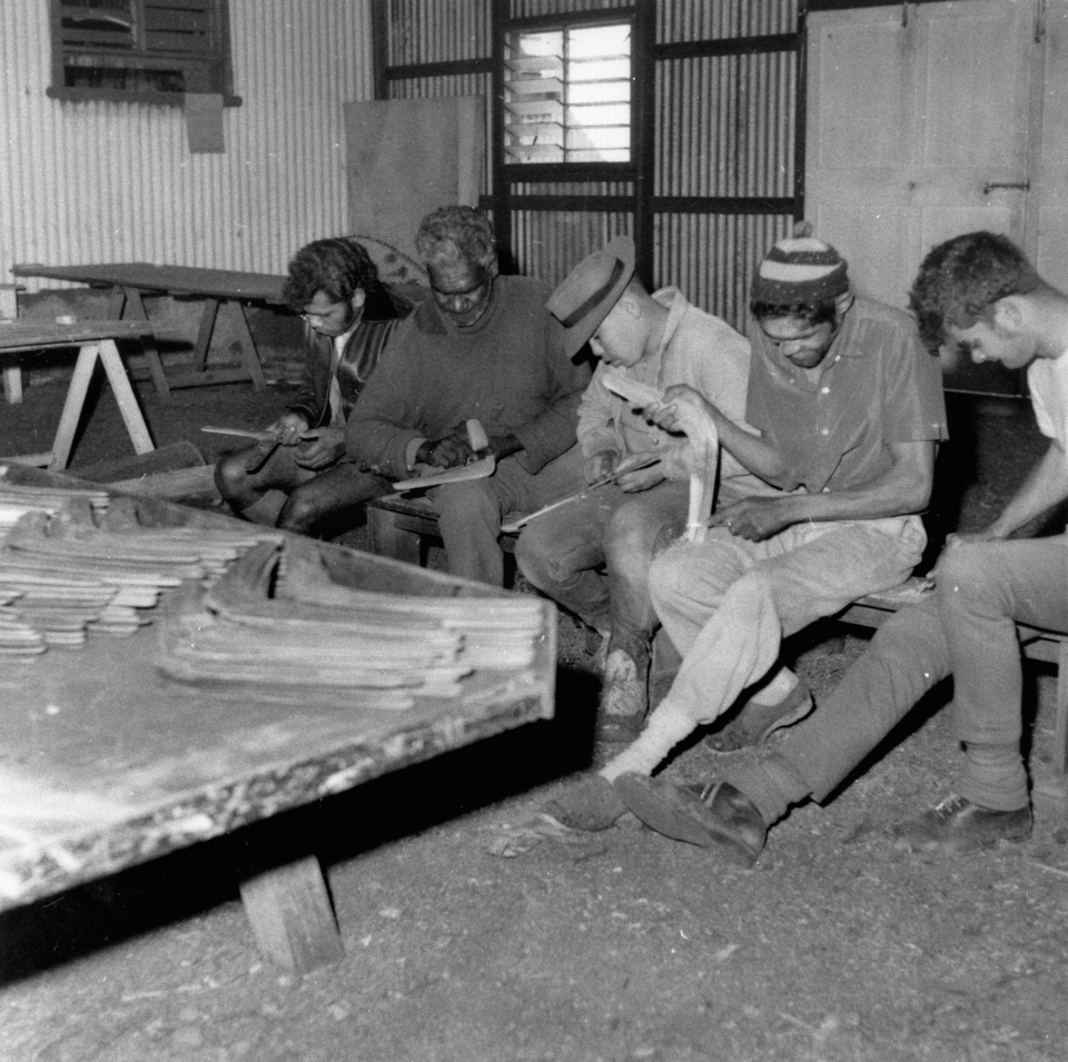 rnie Williams (second from left) and Alex Morgan were never thanked, commended or credited with finding the missing Lady Ann. This picture was taken at the Cherbourg Mission in 1970 (SLQ Negative number: 34401).