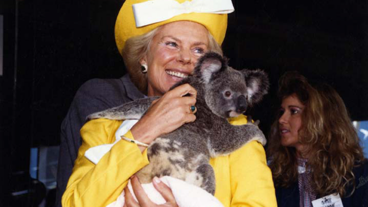 HRH The Duchess of Kent with a koala at Expo 88, Brisbane. Queensland State Archives Item ID 1460293