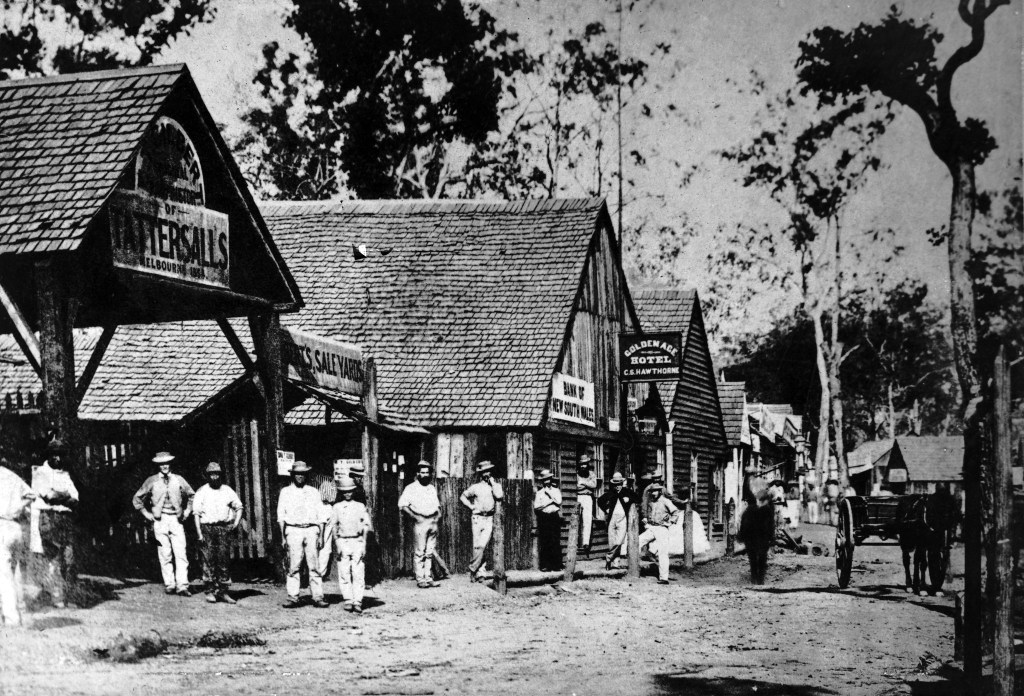 Town poses for a photo in Mary Street, Gympie, 1868