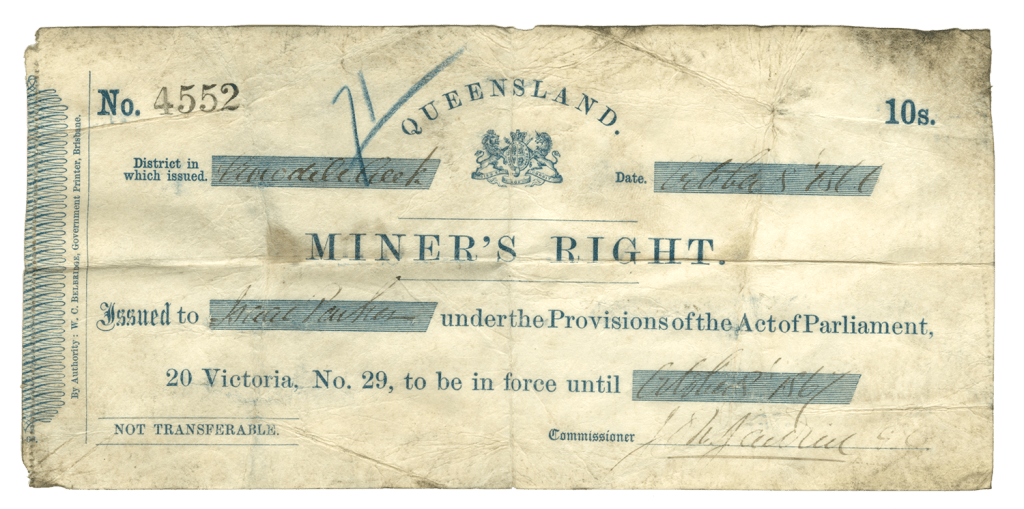 Miner's right issued by the Treasury Department, 1866