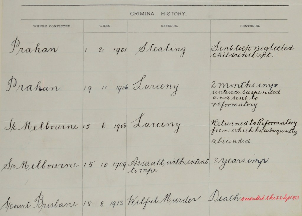 Criminal history of Ernest Austin including his charge of wilful murder and subsequent execution.