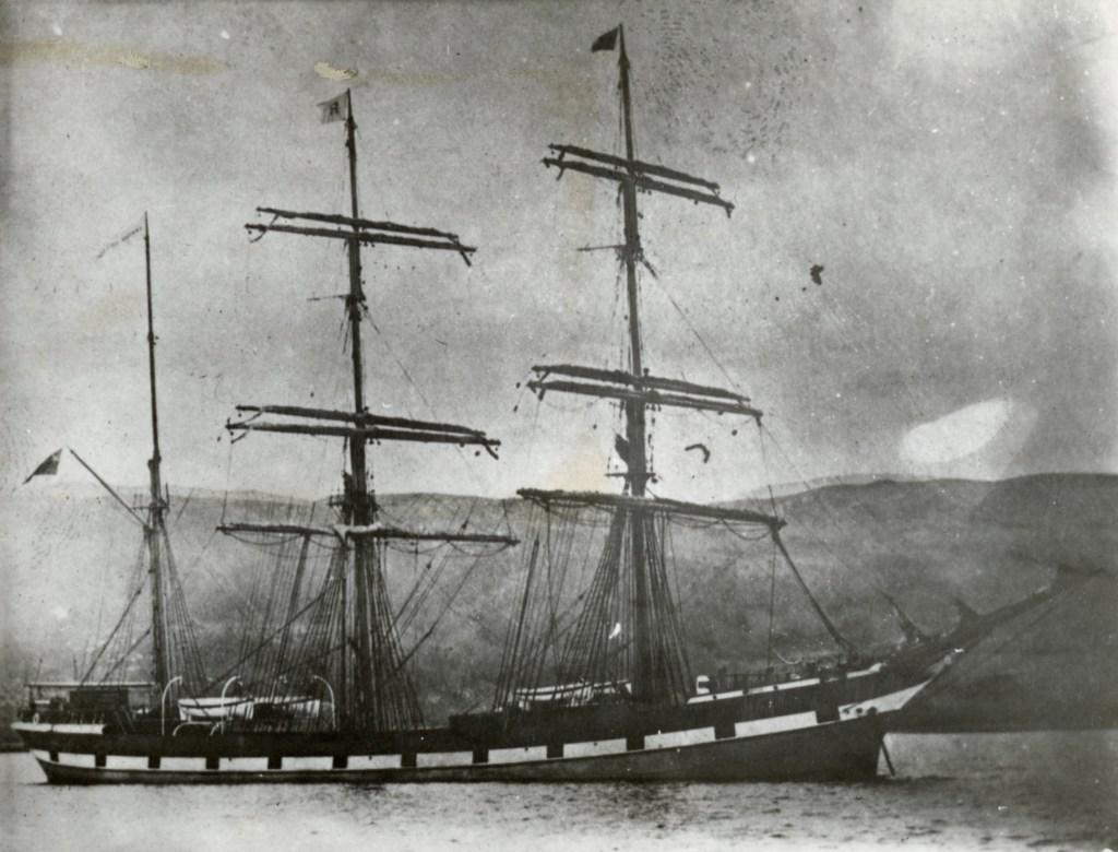Image of the ship Cambus Wallace which wrecked on the shores of Stradbroke Island
