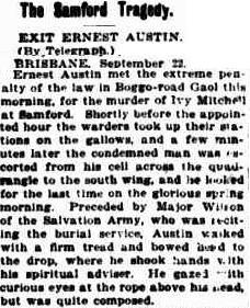 Newspaper report on the execution of Ernest Austin