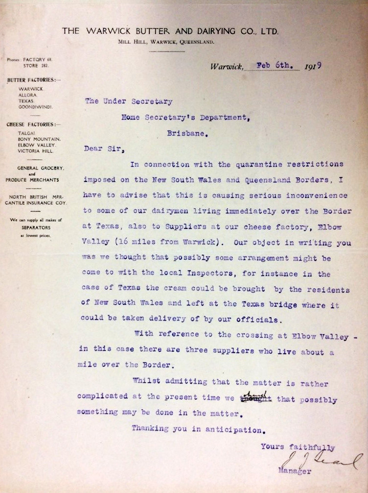 Correspondence from manager of Warwick Butter and Dairying corporation.
