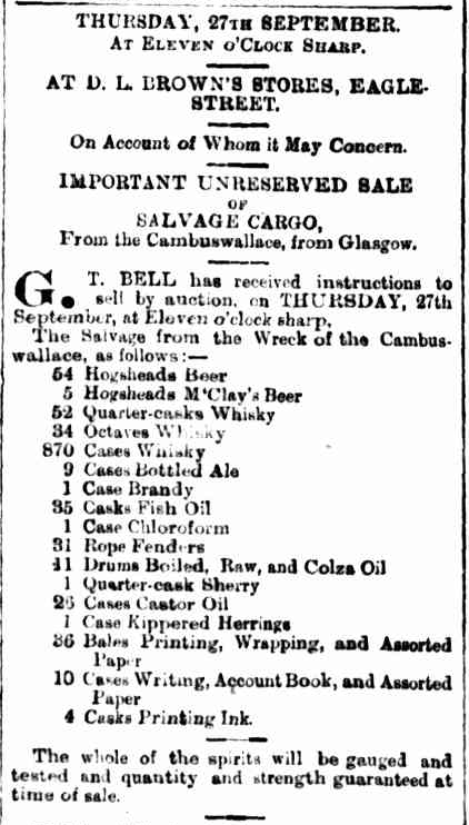 News article from the Brisbane Courier, listing the auction items salvaged from the Cambus Wallace wreckage